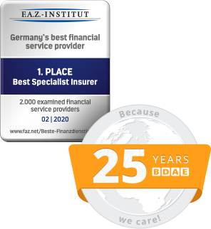 F.A.Z. - Institut - 1. Place Best Specialist Insurer - 02 | 2020 and 25 Years BDAE