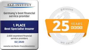 F.A.Z. - Institut - 1st Place Best Specialist Insurer - 01 | 2019 and 25 Years BDAE