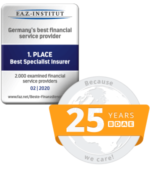 F.A.Z. - Institut - 1st Place Best specialist insurer - 02 | 2020 and 25 years BDAE